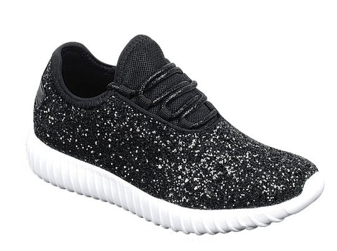 Walk On By Black Glitter Sneakers