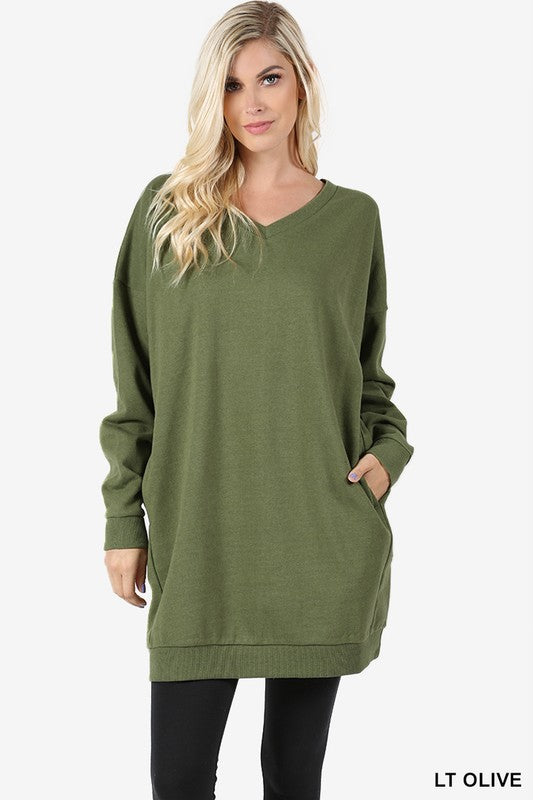 Falling Into Place Oversized V- Neck Sweater