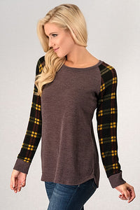 Lovey Dovey Plaid Long Sleeve Top