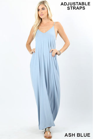 Hey Soul Sister Maxi Dress In Ash Blue