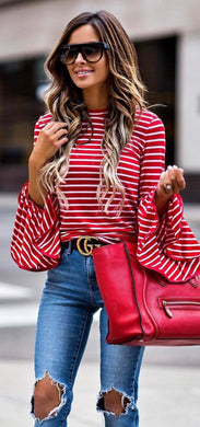 Perfect Intentions Striped Red Top