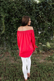 Love Will Keep Us Together Red Off The Shoulder Top