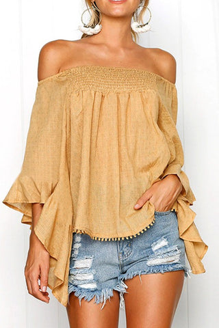 Almost There Front Camel Ruffle Top