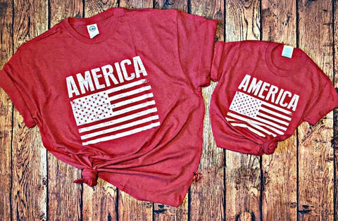 America Screen Printed Flag Tee