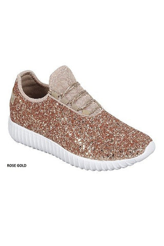 Walk On By Rose Gold Glitter Sneakers