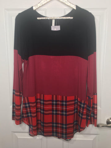 Keep It Casual Color Block Plaid Top