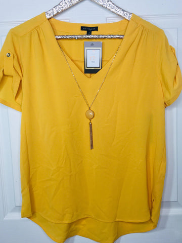 Rise to the Top Golden Yellow Short Sleeve Top