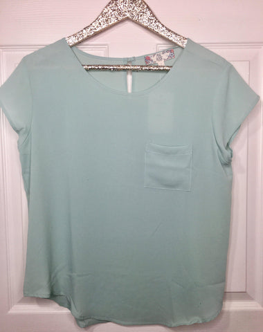 Ocean Blue Crew Crepe Pocket Top