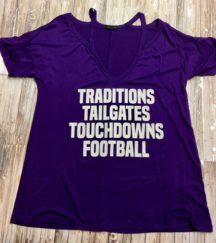 Traditions Tailgates Touchdowns Football Tee