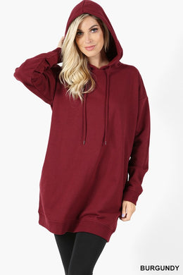 Falling Into Place Oversized Burgundy Hoodie