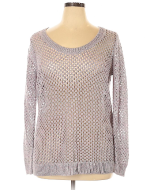 Metallic Scoop Neck Pullover Sweater