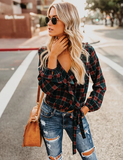 Pied Piper Plaid Ruffle Wrap Top