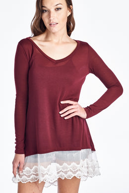 It's The Little Things Burgundy Lace Top