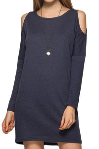 French Terry Cold Shoulder Dress