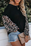 Falling Back In Black Blossom Contrast Swiss Dot Knit Top