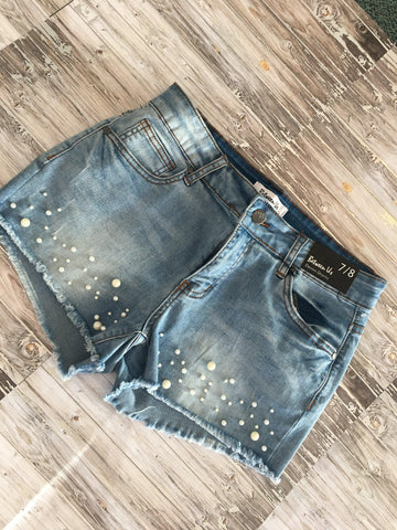 Between Us Pearl Distressed Light Wash Denim Shorts