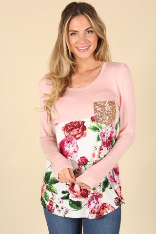Lets Take A Walk Floral Sequin Top
