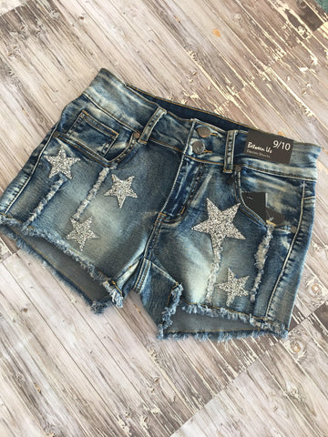 Stars Are Forever Distressed Medium Wash Denim Shorts