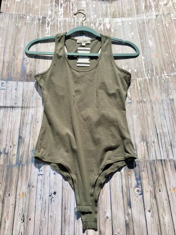 Promise Not To Fall Olive Green Bodysuit