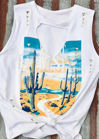 PREORDER - West Cactus Distressed Tank