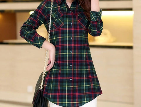 Cabin Party Long Sleeve Classic Plaid Top