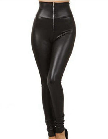 Black Front Zip Faux Leather Leggings