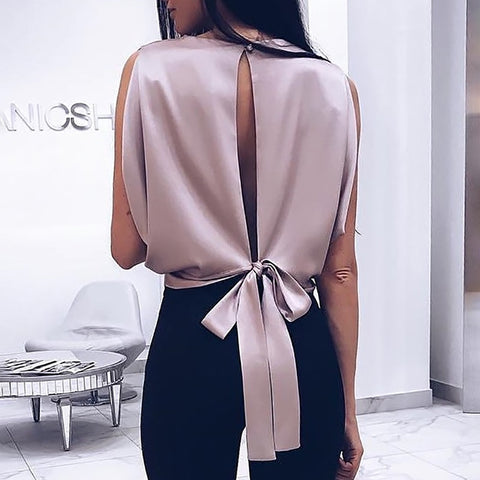 VIP Bliss Satin Tie Back Top
