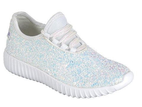 Walk On By White Glitter Sneakers