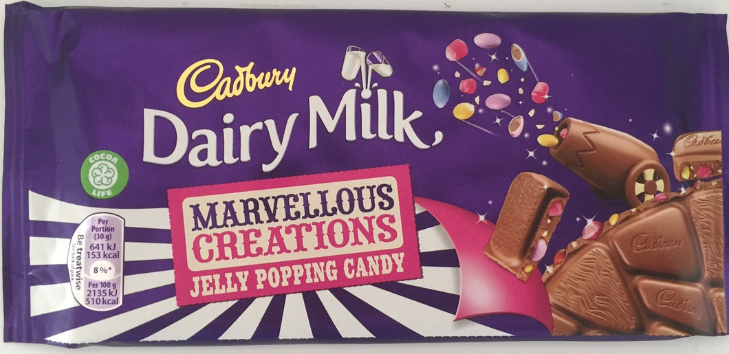 Cadbury Dairy Milk Chocolate Marvellous Smashables Jelly Popping Candy 180g