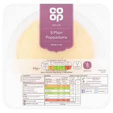 Co op Plain Poppadums 8 pack - FRAGILE