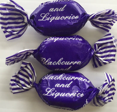JG Blackcurrant & Liquorice Sweets Wrapped 100g