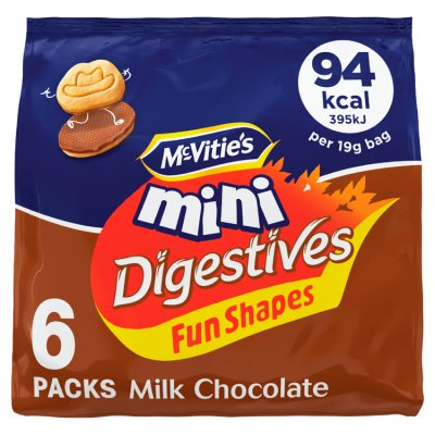 McVities Digestive Milk Chocolate Mini Bag 6 x 19g