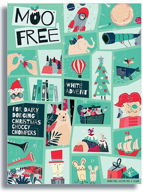 Moo Free Vegan WHITE Dairy Free Advent Calendar - Christmas
