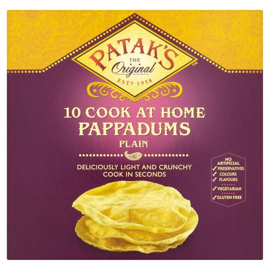 Pataks Pappadums Plain Cook at Home 10ct