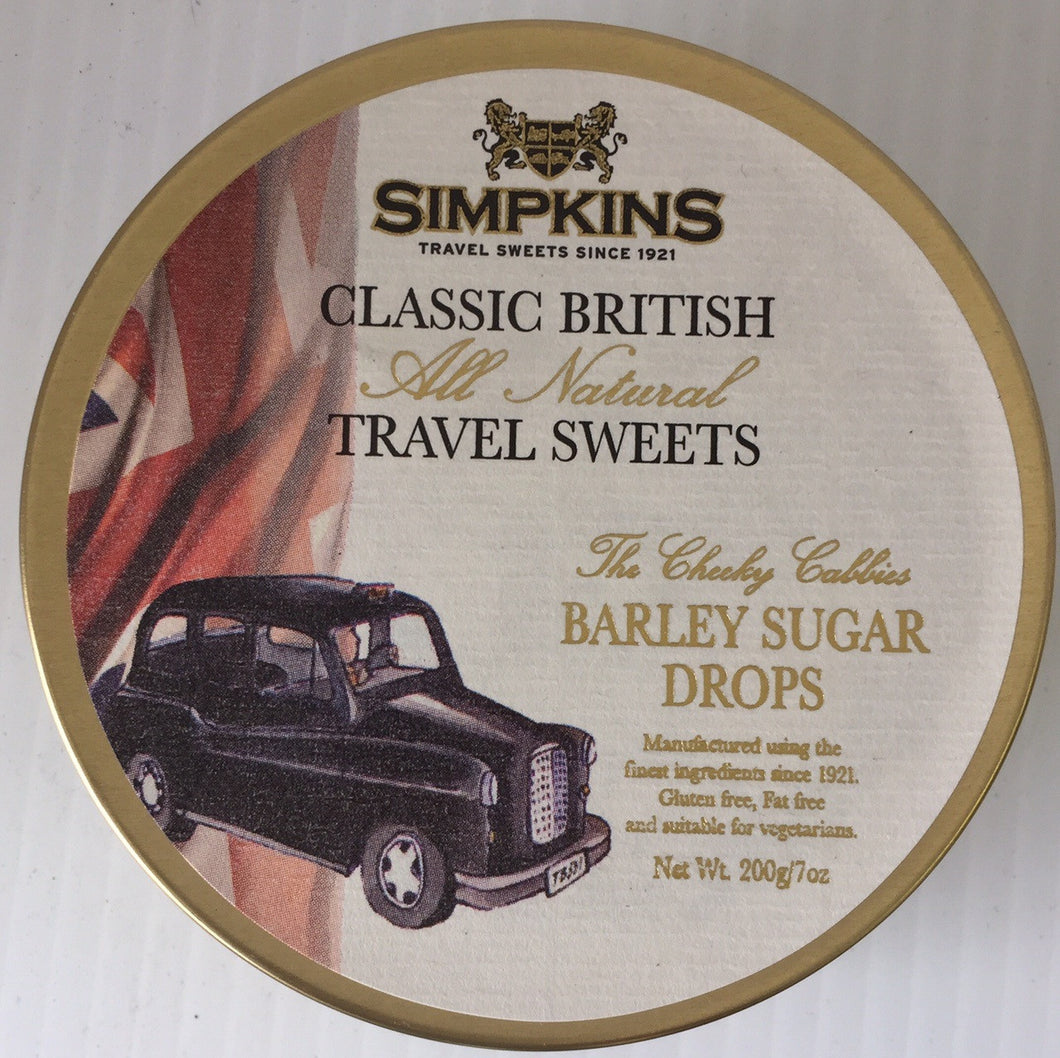 Simpkins British Taxi Barely Sugar Drops Tin 200g