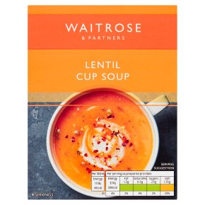 Waitrose Rich & Spicy Lentil Cup Soup 4 x 24g