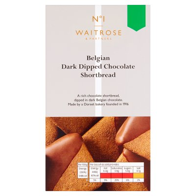 Waitrose No1 Belgian Dark Chocolate Dipped Shortbread 135g