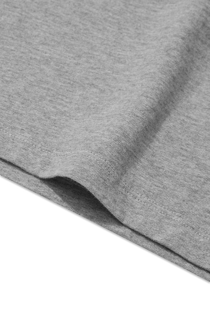 detail of clothPROJECT's grey ethical sustainable luxury t-shirt with free delivery