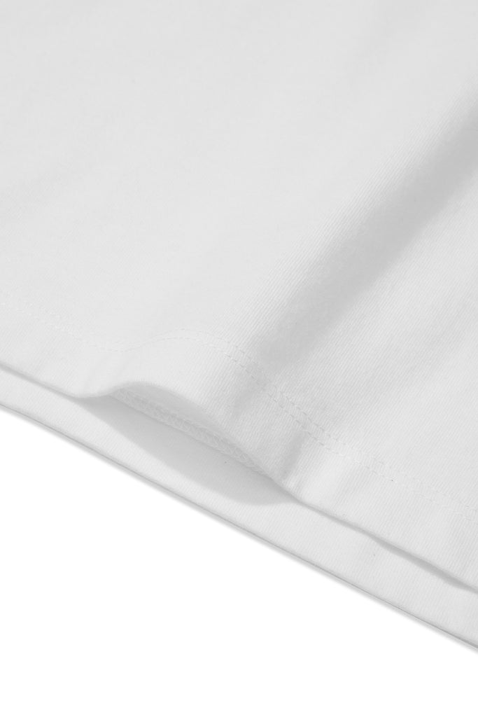 Detail of clothPROJECT's men's white ethical sustainable luxury 100% cotton t-shirt with free delivery