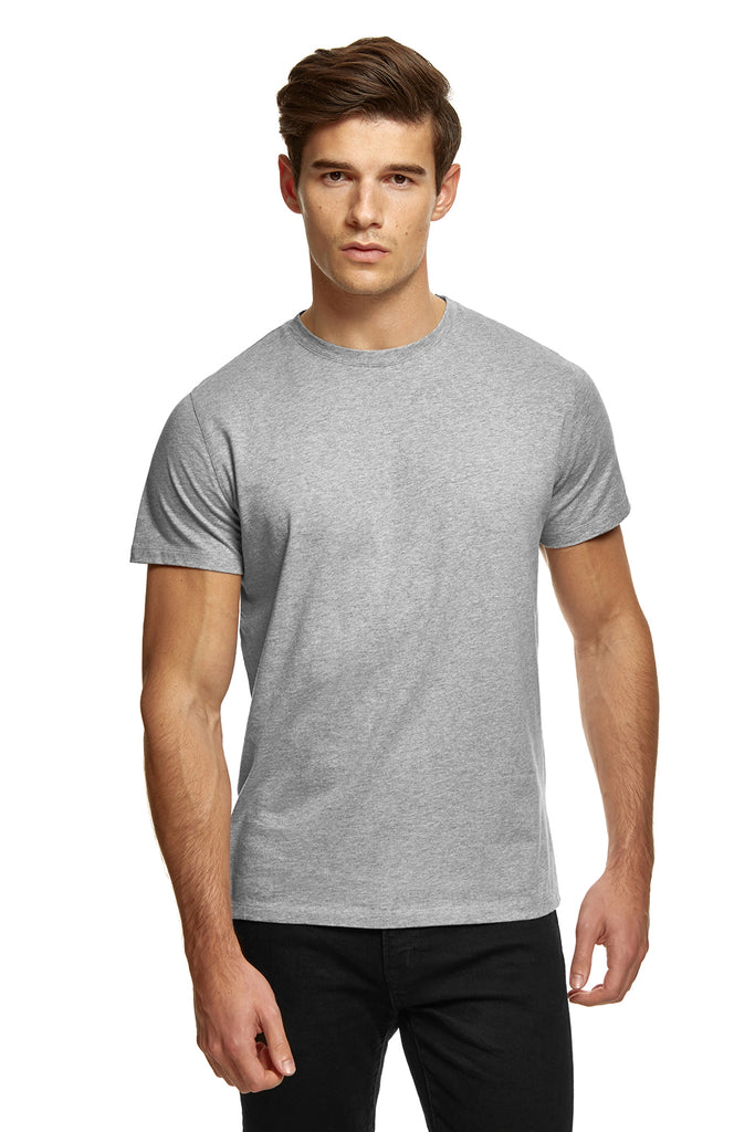 clothPROJECT model wearing men's grey ethical sustainable luxury 100% cotton t-shirt with free delivery