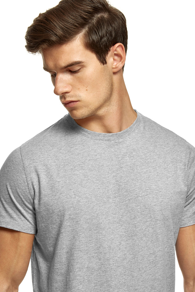 clothPROJECT model wearing grey ethical sustainable luxury 100% cotton t-shirt with free delivery