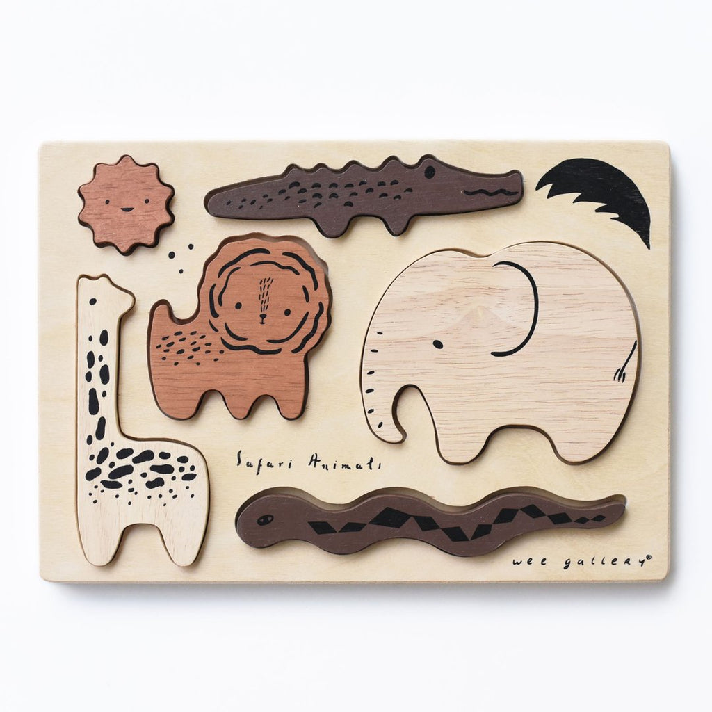 Wee Gallery - Wooden Tray Puzzle - Safari Animals -  Little Pair