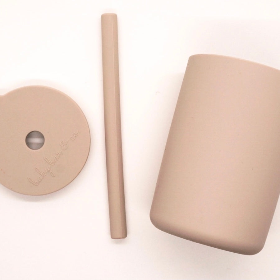 BB Silicone Cup with Straw- Taupe -  Little Pair