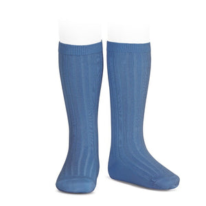 French Blue Knee Socks