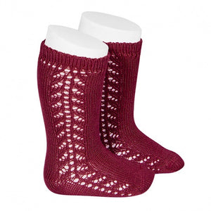 Burgundy Openwork Knee Socks
