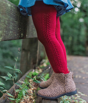 Burgundy Openwork Crochet Tights