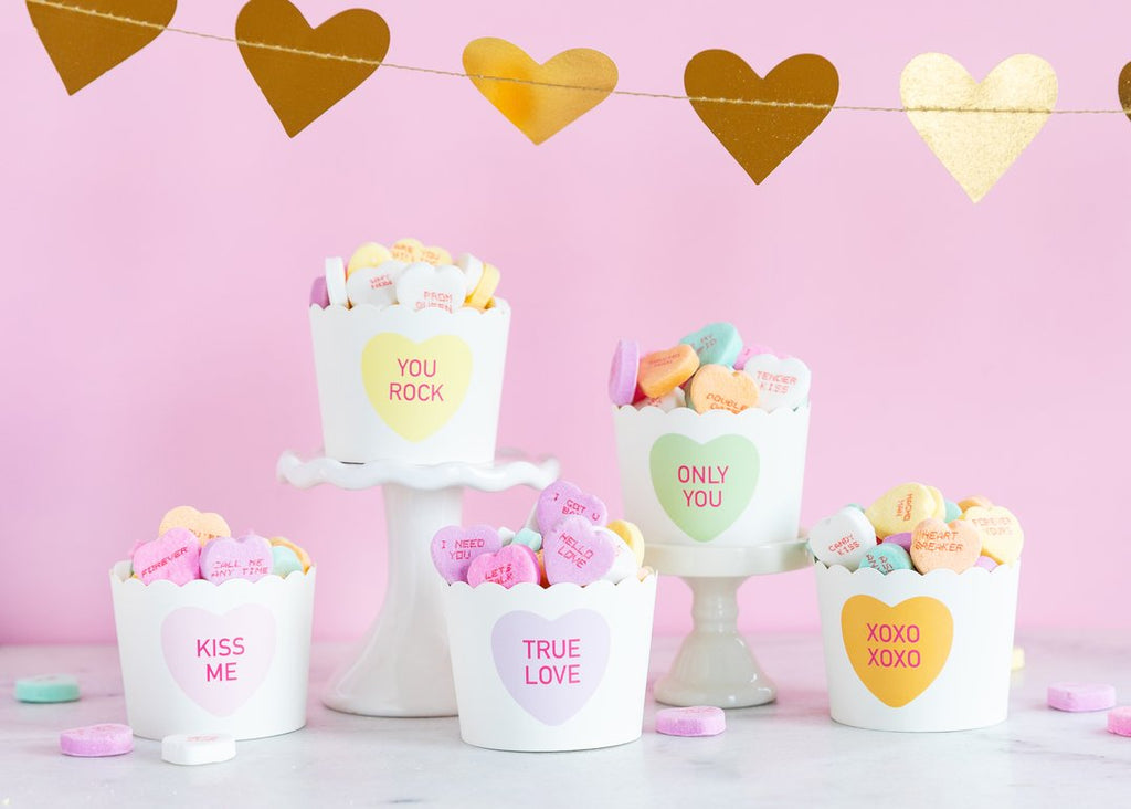 CANDY HEARTS 5OZ BAKING/TREAT CUPS (50 COUNT) -  Little Pair