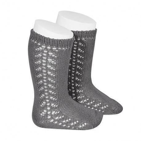Light Grey Openwork Knee Socks