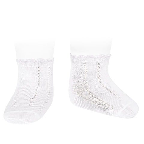 White Fancy Cuff Ankle Socks