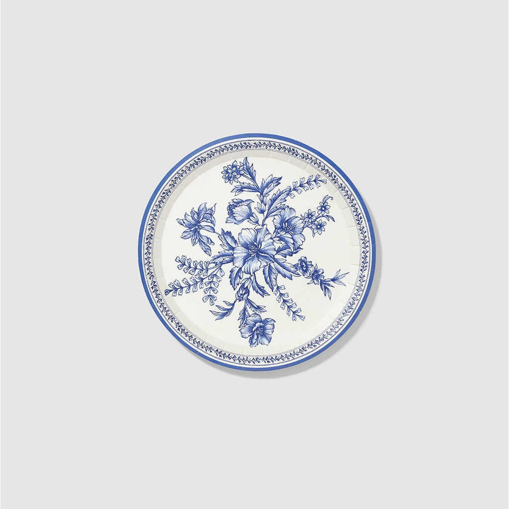 French Toile Small Paper Party Plates -  Little Pair